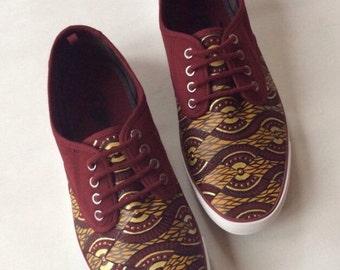 Men's African Shoes - Ankara Clothing - Maroon - Men's Plimsolls - Custom Vans - Painted Vans - Converse - Keds - Toms - Kente Cloth Shoes