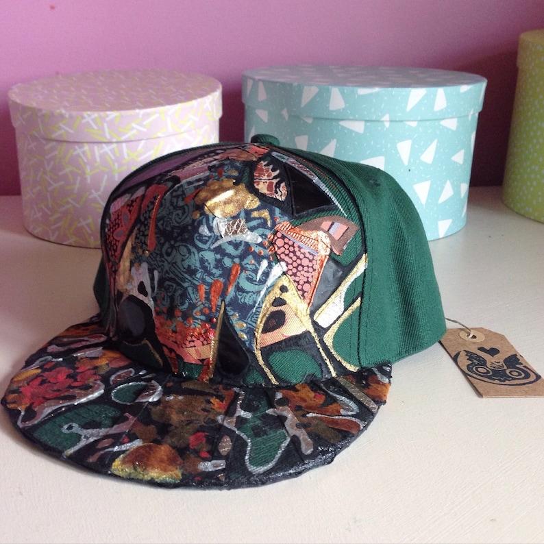 021d887759f Custom Green Floral Snapback Hat
