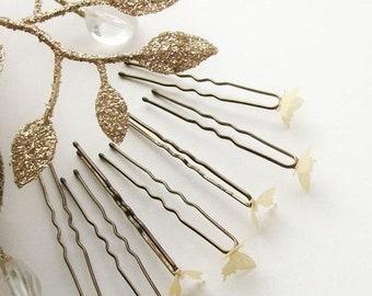 c6af2c714ef SUMMER SALE Gold Toned Hair Pin Set Butterfly Hair Pin Set of 5 Gold Toned  Bobby Pins Simple Natural Vintage Style Woodland Wedding Bridesma