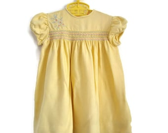 Baby Dress, Vintage Baby Dress, Yellow Baby Dress, Baby Girl Clothes, Baby Girl Dress