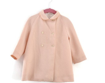 Vintage Little Girls Coat, Peach & White