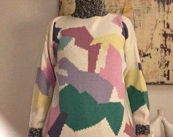 Vintage 80s Esprit Geometric Sweater multicolor Abstract Turtle Neck Women's