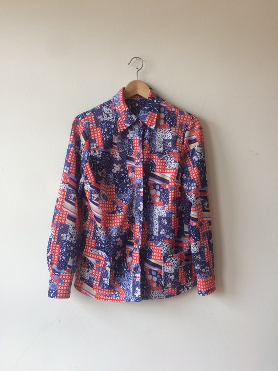 Medium 70s Red and Blue Patchwork Pattern Blouse Western Style Women/'s Small