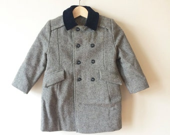 Sale! 70s Charcoal Tweed Coat Girls Double-Breasted Velvet Collar Saks Fifth Ave. Size Childrens 4