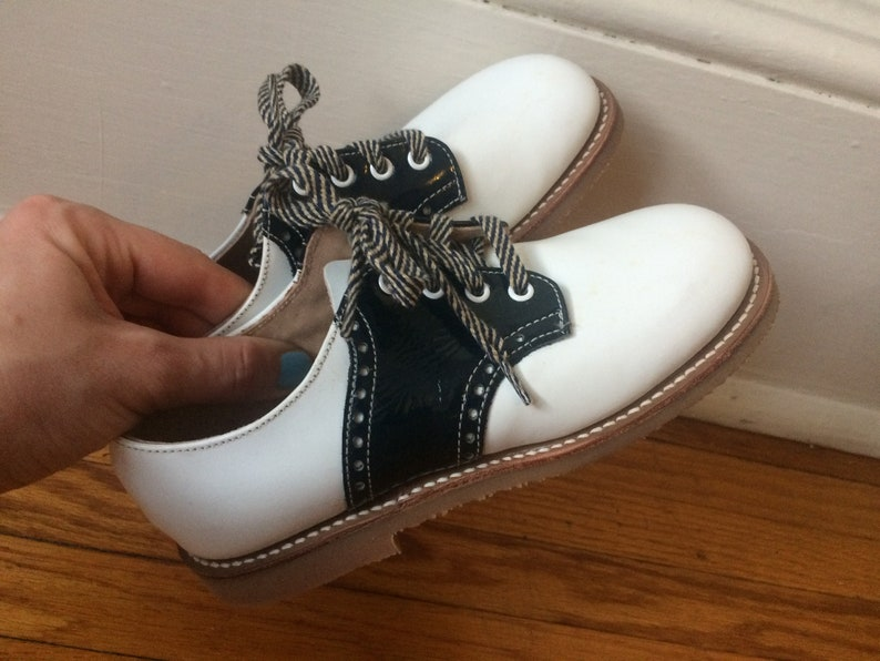 8b044b3a4bde6 Classic Vintage Childrens Saddle Shoes White and Black Leather Crepe Rubber  Soul Size 11.5 Toddler Kids NOS Mint Vintage