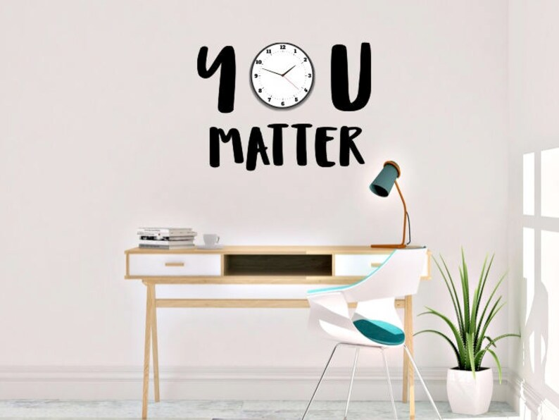 you matter clock vinyl wall decal | etsy