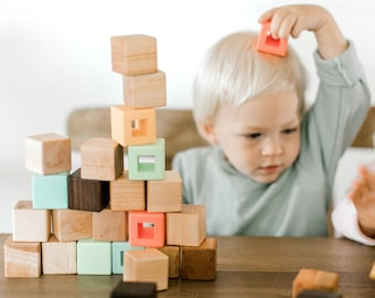 Silicone and Wood Building Blocks Set Wooden Blocks Kids Toy