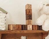 Personalized Baby Blocks - Organic Wood Name Blocks for play, photos, nursery decor