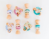 WINTER Limited Edition Classic Bundles Classic Wooden Rattle and Classic Teether Set Newborn Baby Gift Baby Shower Gift Wooden Toys