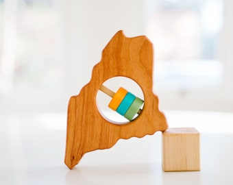 Maine Baby Rattle™ - Modern Wooden Baby Toy - Organic and Natural 5270cd9d47
