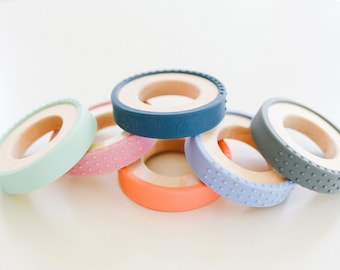 Silicone Wrapped Wooden Ring Wood Baby Toy Silicone and Wood Baby Toy