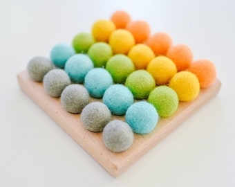 Counting Frame with Felt Balls Early Math Educational Homeschool