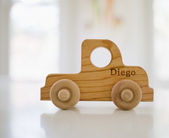 Organic Wooden Toy Truck PERSONALIZED Natural Fun for Kids | Etsy