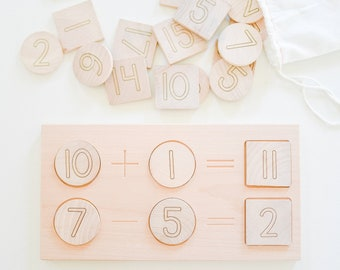 Math Board Wooden Early Math Addition Subtraction Tiles Counting