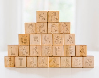 ASL American Sign Language Alphabet Blocks Building Blocks Wood Blocks Toy Blocks Alphabet Blocks Baby Blocks Wooden Toy Wood Toy ASL Blocks