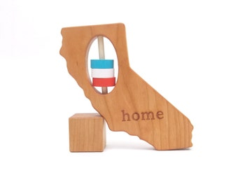 California State Rattle™ Wood Rattle Baby Rattle Wooden Rattle Baby Shower Gift Wooden Toy California Gift Baby Toy Baby Gift Wood Teether