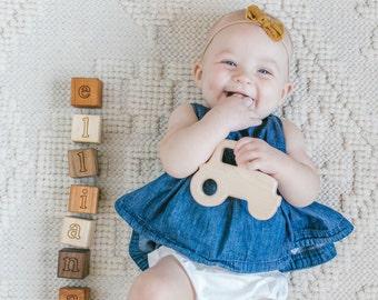 Personalized Baby Blocks - Organic Wood Name Blocks for play, photos, nursery decor