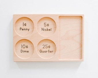 Money Counting and Sorting Tray Wooden Count Coins Currency