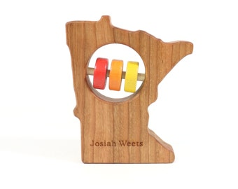 Minnesota State Baby Rattle™ - Modern Wooden Baby Toy - Organic and Natural