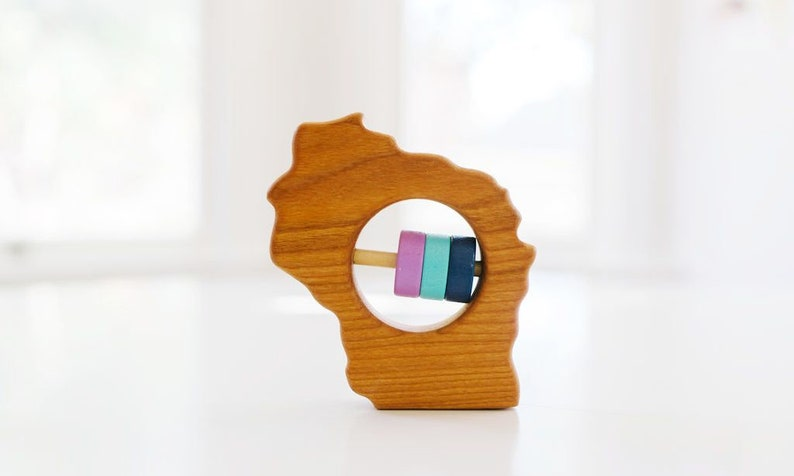 WISCONSIN State Baby Rattle™  Modern Wooden Baby Toy  image 0