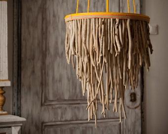 Driftwood Hanging Light Chandelier, Three Tier Round Driftwood Lamp, Coastal Chic Lamp, Rope Lamp, Hanging Light, Sunburst Lamp
