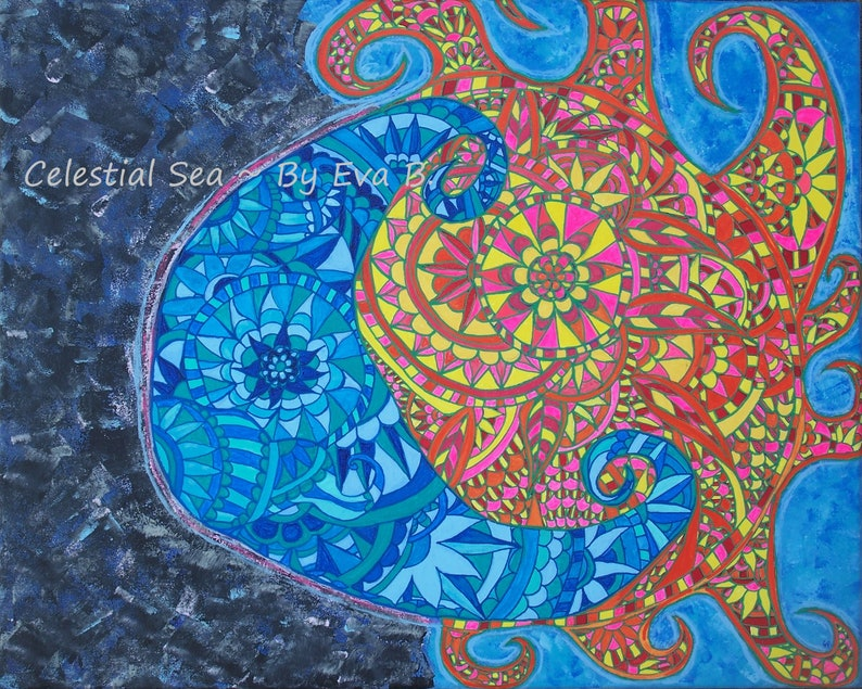 2bffa6b3d Sun and Moon Art Celestial Sea Painting Mandala Sun Art Floral | Etsy