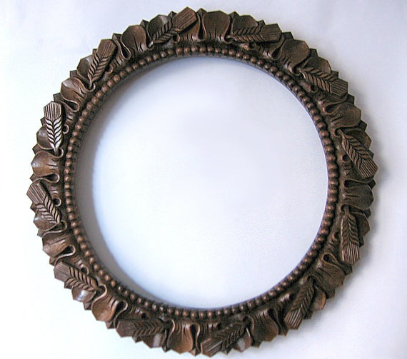 Tapestry Wood Carving Handmade, Carved Wooden Round Mirror