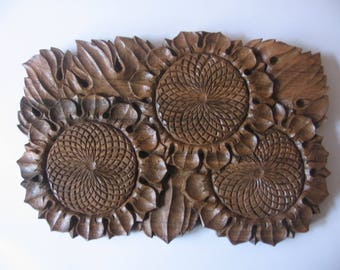 Wall hanging Cornfield of Sunflowers, bulgarian wood carving, room decor, country house, cottage chic