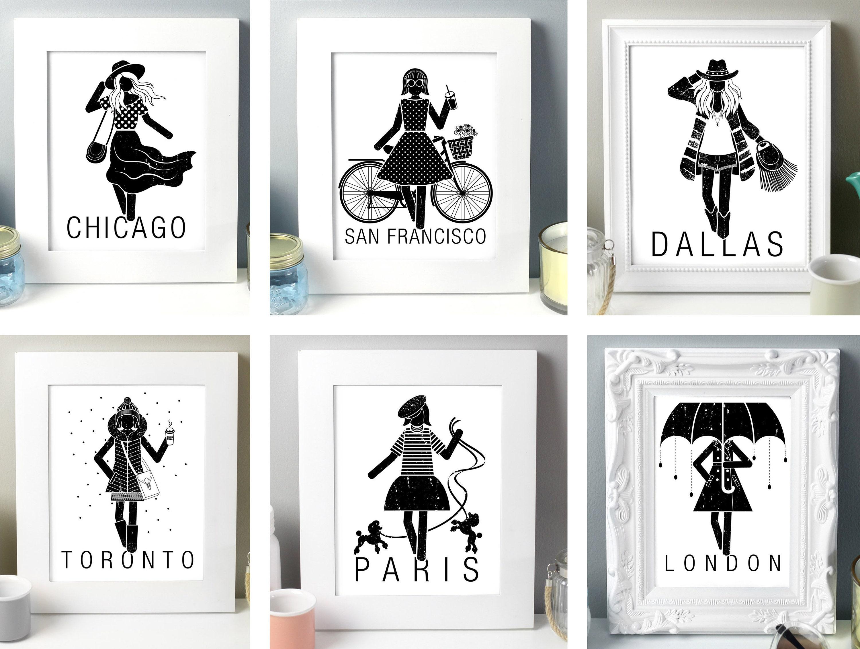 18 City Fashion Illustration Set The Future Is Female Etsy