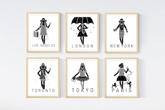 Fashion London NY Paris Set of 3  quote city prints typography gift