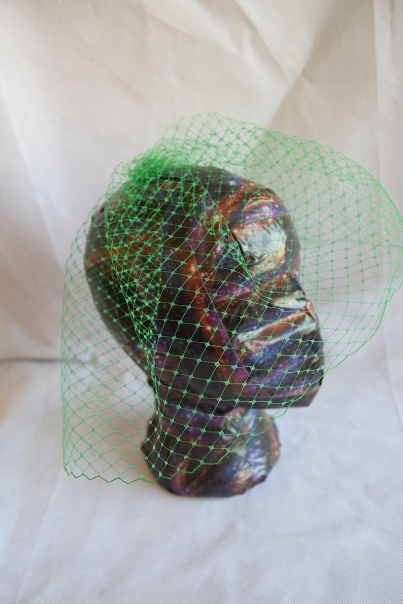Green Bridal wedding handmade birdcage veil