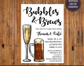 Bubbles and Brews Couples Shower invitation - Beer & Bubbly - Beer and Champagne Invite - Engagement Party - Rehearsal Dinner - Item 0357