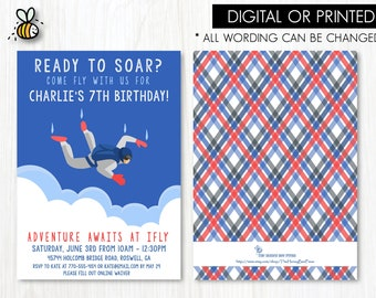ccae5c256 Skydiving Birthday Invitation - IFLY birthday invitation - Indoor skydiving  party invitation PRINTED or PRINTABLE