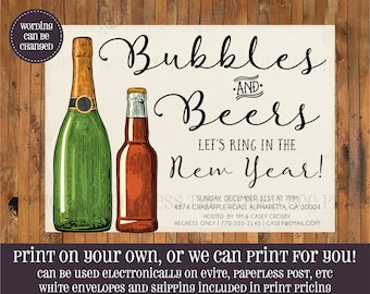 New Years Party Invitation - Bubbles and Beers New Years invitation - Beer and Bubbly New Years invitation - Champagne Beer - Item NY0008