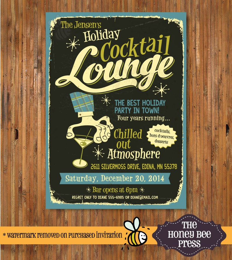 Retro Holiday Party Invitation - Christmas Cocktail Party, Holiday Open  House, Ugly Sweater Party - Item C00017