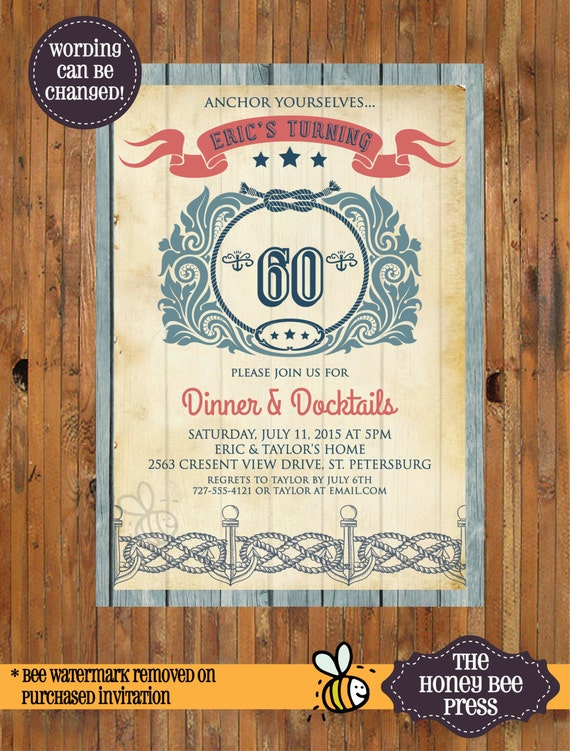 Nautical Birthday Invitation Dinner And Docktails 30th