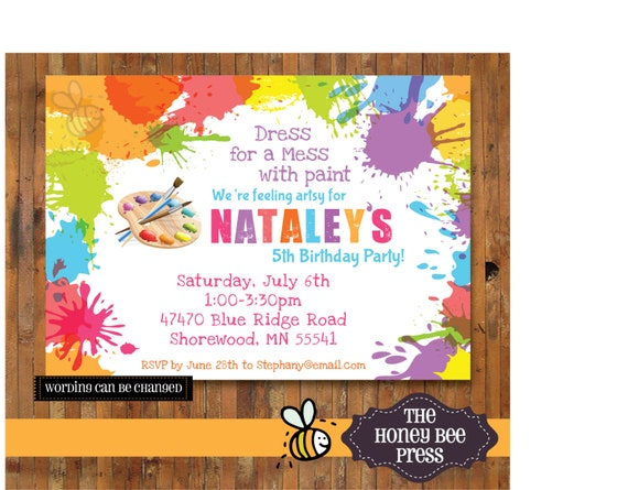 art party invitation paint party invitation splatter paint etsy