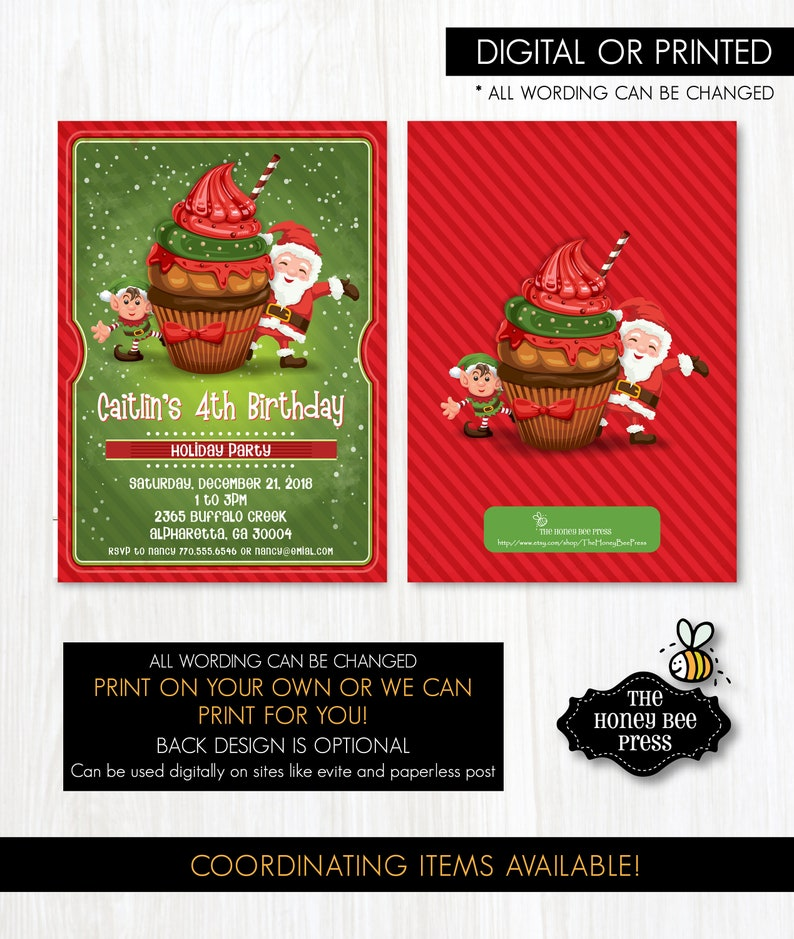 Christmas Cupcake Party Invitation Holiday Dessert Party Invitation with Santa Elf and Cupcake
