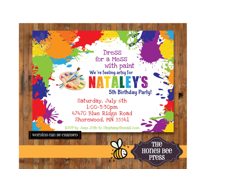 Art Party Invitation Paint Party Invitation Splatter Paint