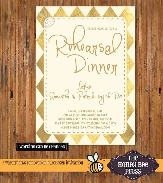 39ffbbd11f64 Rehearsal Dinner Invitation Gold Foil Design - Geometic Gold and Ivory -  Love