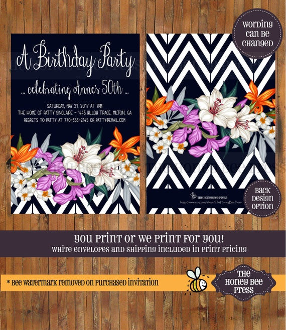 Tropical Birthday Invitation 30th 40th 50th 60th 70th