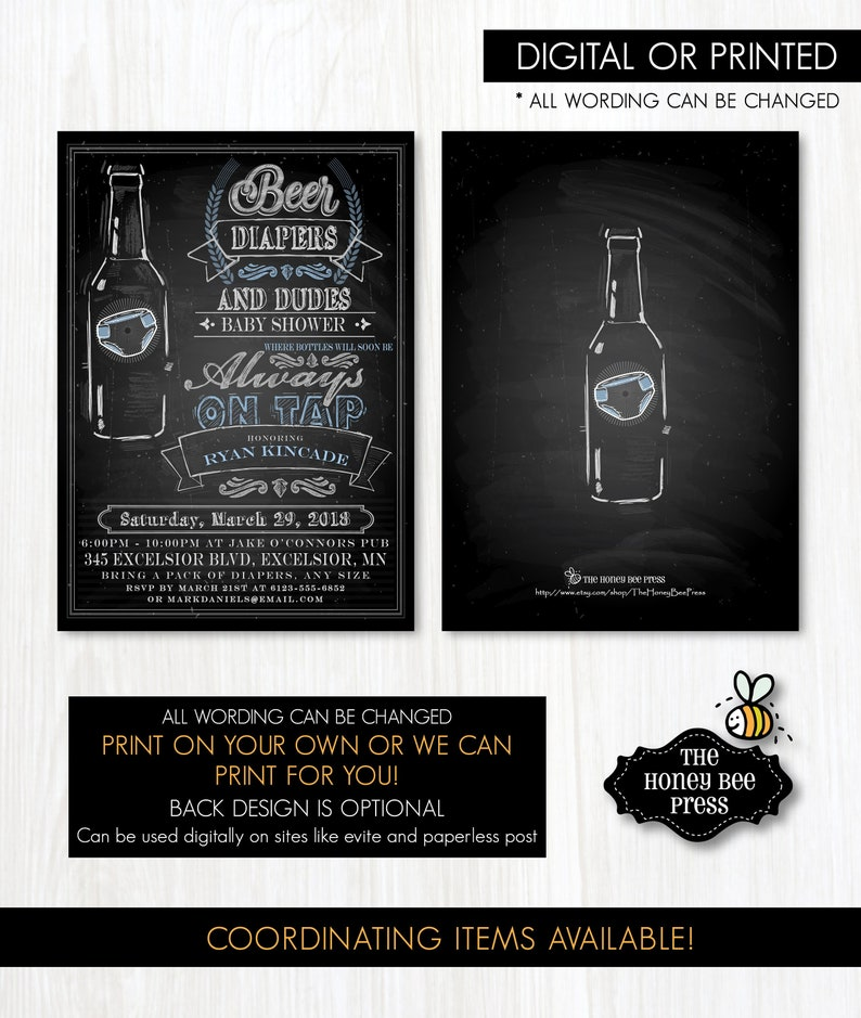 Diapers and Dudes Dad to Be Baby Shower Invitation Beer Diaper Shower Inviation for Dad Beer