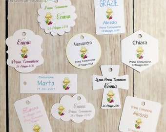comunione ADESIVI personalizzati KRAFT 50 mm etichette matrimonio cresima laurea 40mm battesimo grazie quadrato. thank you stickers 30 mm 35 mm tondo