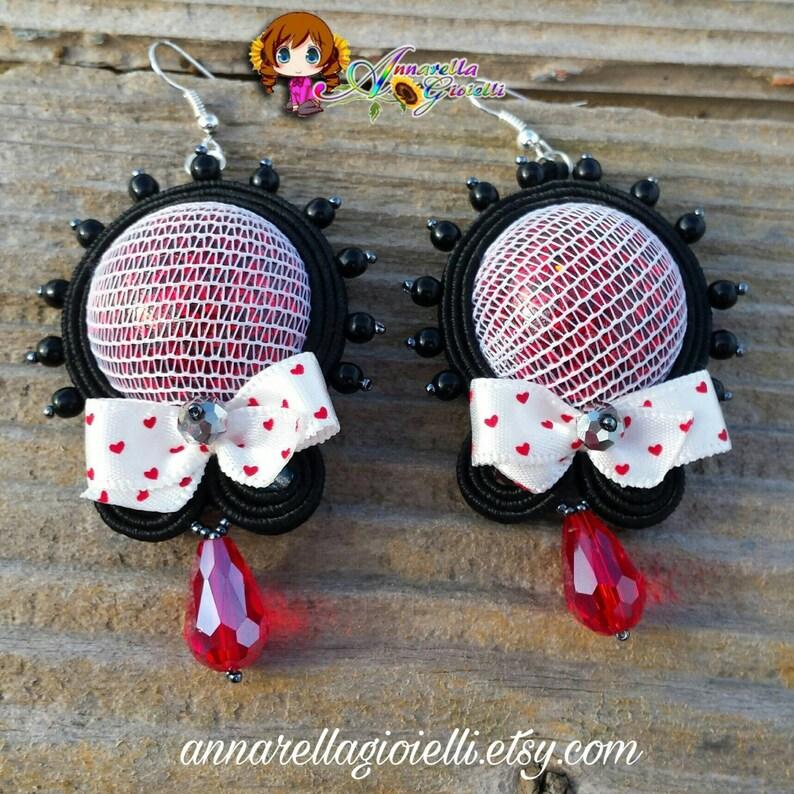 fa90a70d9 Pendientes soutache rojo negro Cabujón hecho a mano | Etsy