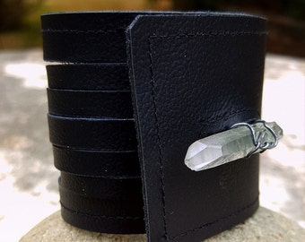 BACKORDERED Until Jan 30 Black Leather Cuff-Raw Quartz-Pay w PayPal get a free spell in the box!Wire Wrap-Upcycled Leather-Med Uni 6.5, 7 in