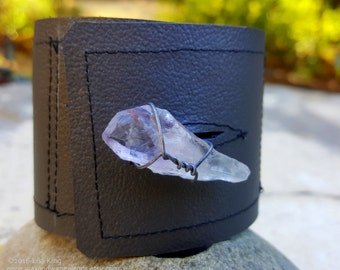 Gray Leather Cuff-Pay with PayPal get a free spell in the box! Raw Quartz Crystal-Steel Wire Wrap-Upcycled Leather-Med Unisex 6.5,7 in