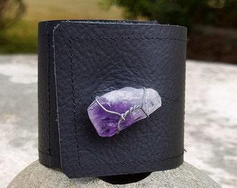 Black Leather Cuff-Pay with PayPal get a free spell in the box! Amethyst Raw Crystal-Steel Wire- Upcycled Leather-Standard Med Uni 6.5, 7 in