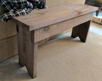 Wood Bench for entryway, family room or kitchen, Rustic Look