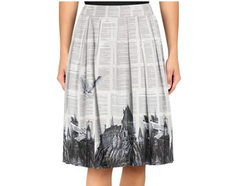 908b919999b58 Witchcraft and Wizardry - Midi Skirt of a snowy owl on book pages - Harry  Potter Inspired