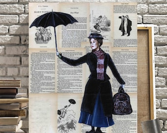Canvas Print of Mary East Wind with Umbrella on Book Pages